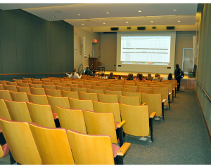 Paresky Auditorium is often used for lectures, screenings, and performances. Located in the basement of the Paresky Center, the auditorium seats 150.