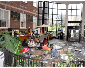 The Eco Café, which seats 30, offers organic fair trade coffee, organic teas, and locally baked goods in the atrium of the Science Center. It also offers Grab 'n Go lunches.