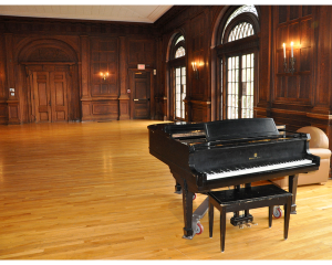 Currier Ballroom is often used by students for Cap and Bells productions (produced, directed, and acted by students), balls, costume parties, and dinners. The ballroom has rich wood paneling, high ceilings, and a piano.