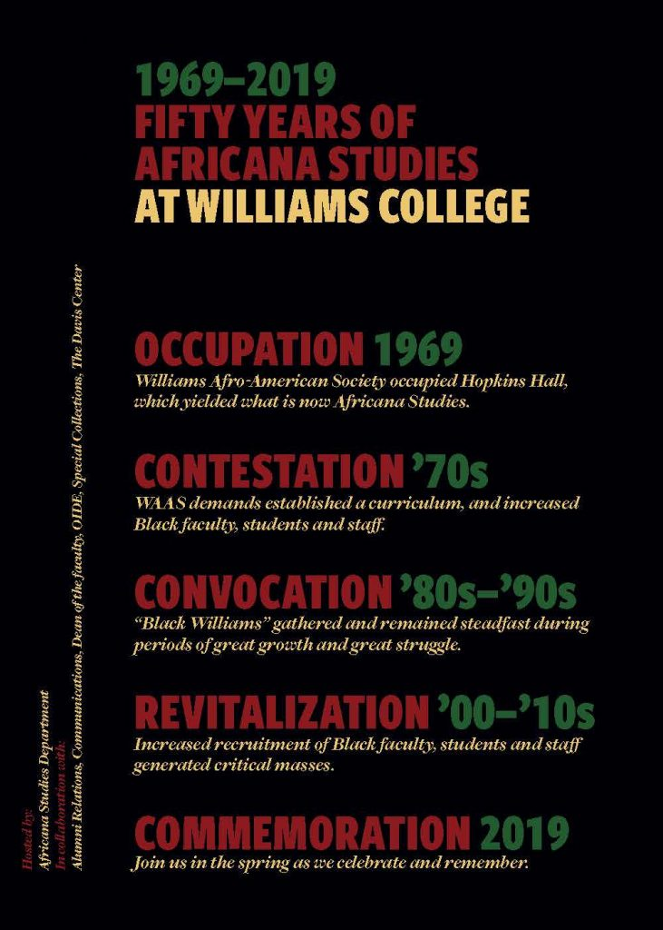 50 Years of Africana Studies at Williams College, 1969-2019