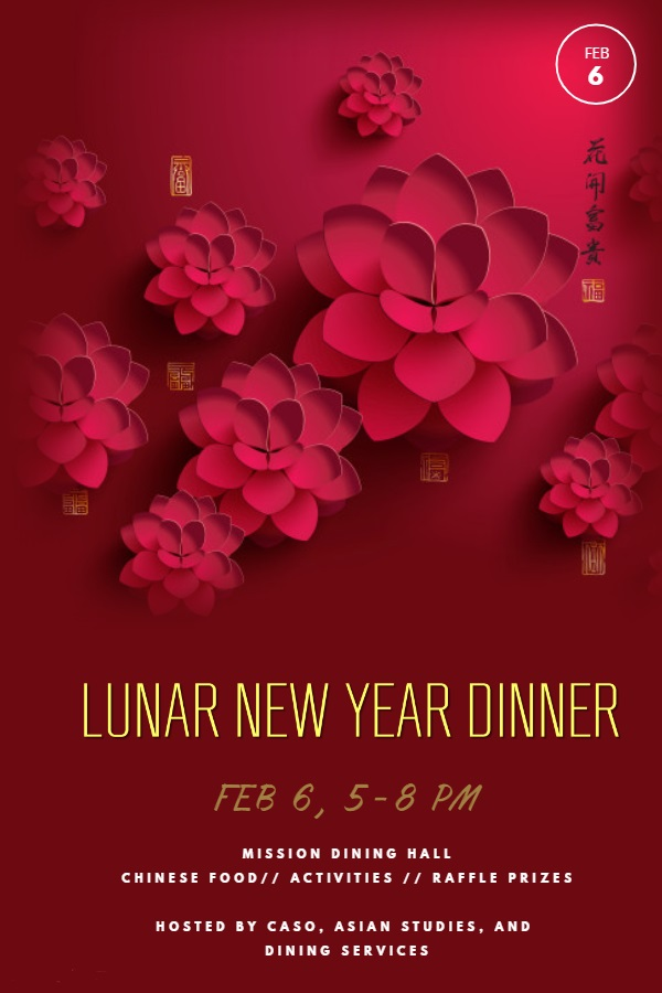 Lunar New Year Celebration Dinner, Wednesday Feb. 6th @ Mission Park