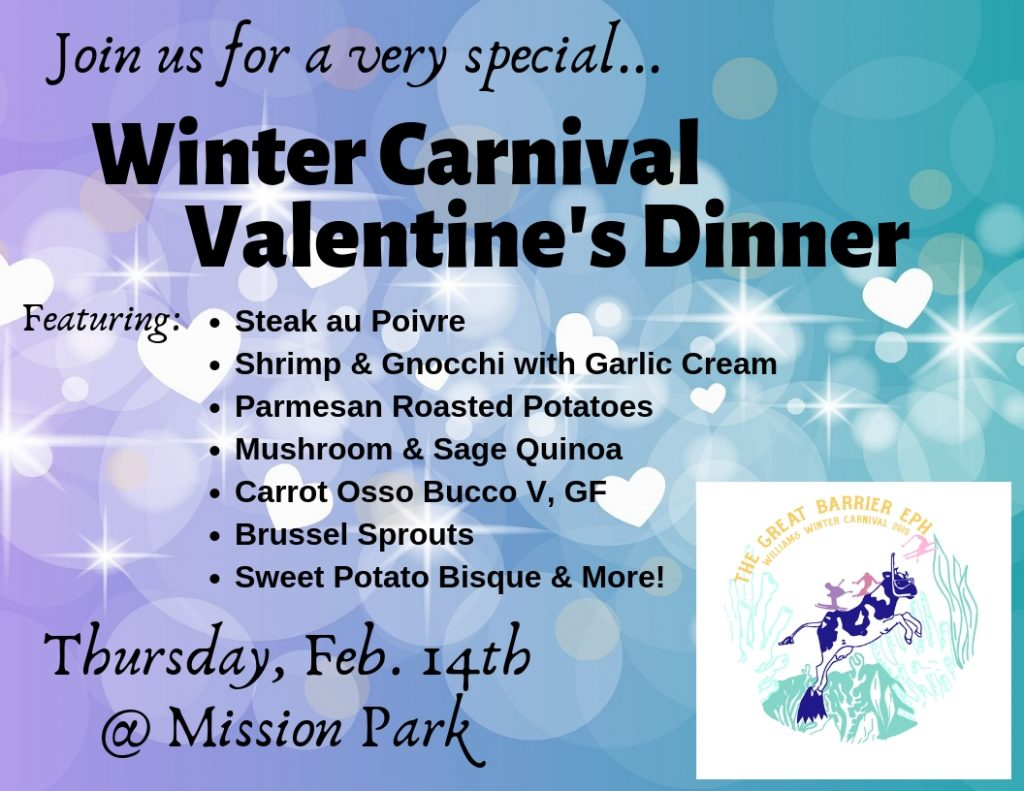 Winter Carnival Valentine's Dinner @ Mission Park. Thurs, Feb. 14th