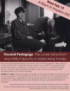Visceral Pedagogy: the Lower Sensorium and Willful Opacity in María Irene Fornés