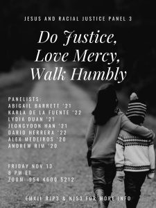 Jesus & Racial Justice Panel: Do Justice, Love Mercy, Walk Humbly