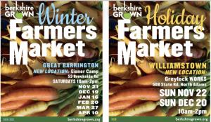 Berkshire Grown Holiday Farmers Market: Buy Locally-Grown Food on Sunday Nov. 22 @ Greylock WORKS