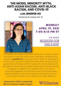 """The Model Minority Myth, Anti-Asian Racism, Anti-Black Racism, and COVID-19"" with Jennifer Ho"